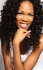 view from front of model wearing virgin indian deep wave hair extensions