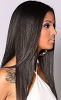 side view of indian straight hair